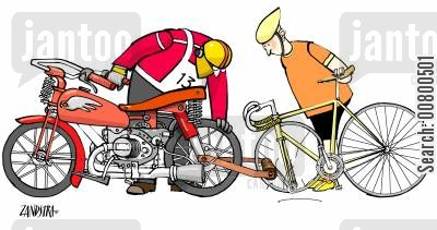 break down cartoon humor: Biker and Cyclist.