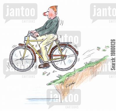 cliff cartoon humor: Man cycling off a cliff
