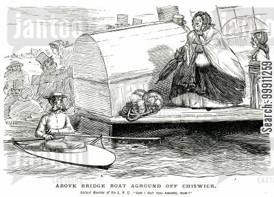 rowing cartoon humor: Man in tiny roming boat offers to rescue a lady in a huge dress