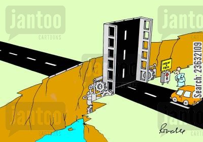tolls cartoon humor: Insert a coin to lower the bridge.