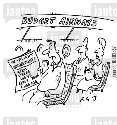 in-flight entertainment cartoon humor: 'Budget Airways.'