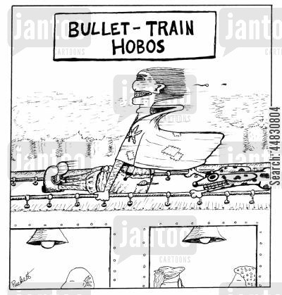 bullet train cartoon humor: 'Bullet-Train Hobos'-a hobo riding atop a very fast train with his dog.