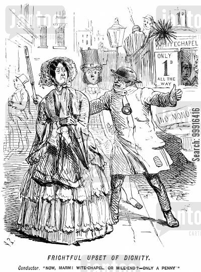 public transport cartoon humor: Conductor asking a lady to get on an omnibus
