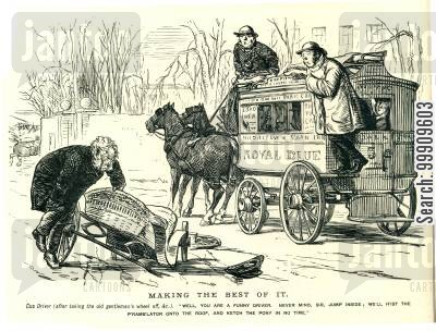 horse and carriages cartoon humor: A Bus Knocks Down an Old Gentleman's Carriage.