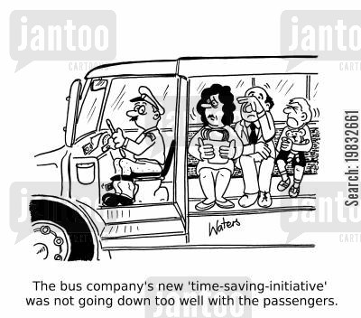 conductors cartoon humor: The bus company's new 'time-saving-initiative' was not going down too well with the passengers.