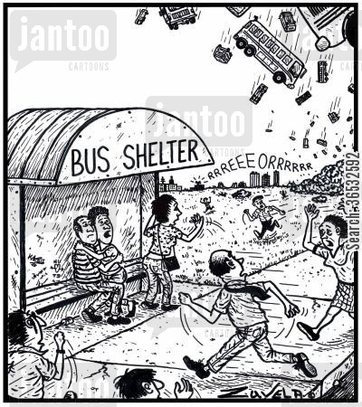 dropping cartoon humor: People running for their lives to a Bus shelter.
