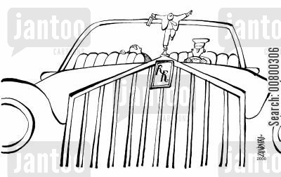 rolls royce cartoon humor: Rolls Royce with a figure of a businessman on the front.