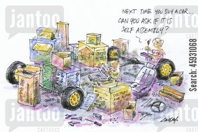 new wheels cartoon humor: Next time you buy a car, can you ask if it is self assembly?