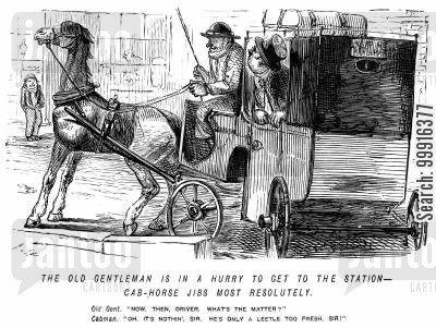 train station cartoon humor: Man in a hurry to get to the station - cab-horse jibs - driver tells him the horse is just a little too fresh.
