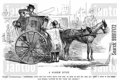 hansom cab cartoon humor: Cabman offering a reduced fare to Hampstead because he feels like a drive in the fresh air