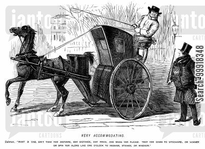 hansom cab cartoon humor: An accommodating cabman offering to take a gentleman wherever he likes