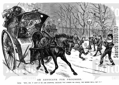 snow ball fights cartoon humor: Some children throwing snowballs at a hansom cab