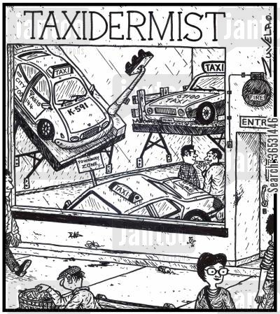 stuff cartoon humor: (Visual gag) Taxidermist.