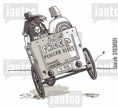 pedicabs cartoon humor: Free Pedicab Rides.