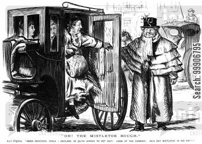 carriages cartoon humor: A group of ladies fearful to leave their cab as the cabman has mistletoe on his hat
