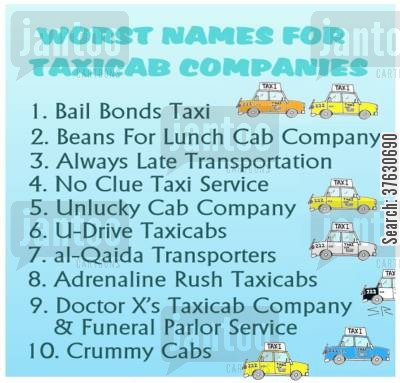 black cab cartoon humor: Ten Worst Names for Taxicab Companies.