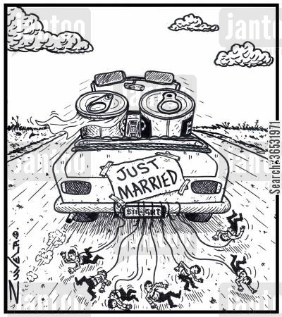 canned food cartoon humor: Visual Gag: 'Just married' sign on the back of a car with two newly married cans.