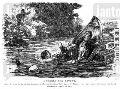 shipwreck cartoon humor: Two men in a capsized canoe