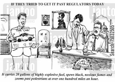regulate cartoon humor: 'It carries 20 gallons of highly explosive fuel, spews black, noxious fumes and zooms past pedestrians at over one hundred miles an hour.'