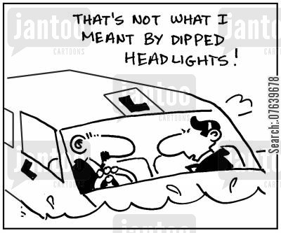 driving instructor cartoon humor: 'That's not what I meant by dipped headlights.'
