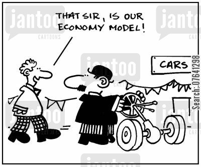 economy model cartoon humor: 'That sir, is our economy model.'