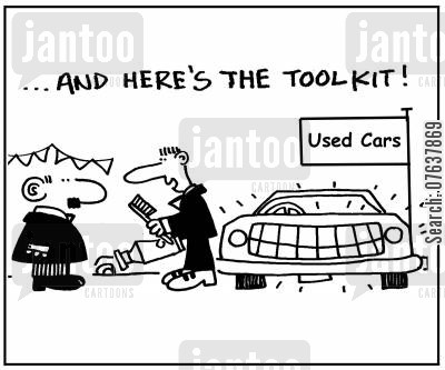 car sale cartoon humor: 'And here's the toolkit.'