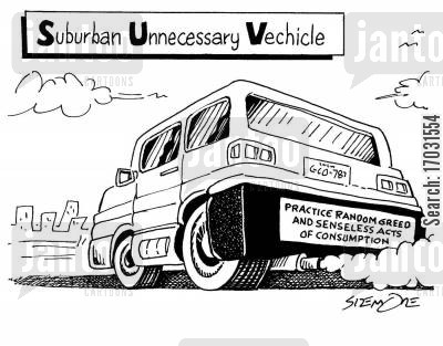 suvs cartoon humor: Suburban Unnecessary Vehicle. (Plate reads practice random greed and senseless acts of consumption).