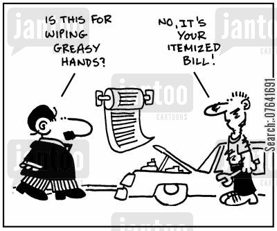 insure cartoon humor: 'Is this for wiping greasy hands? No, it's your itemized bill.'