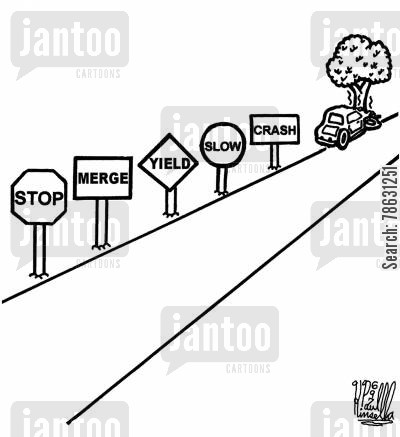 traffic collision cartoon humor: Stop, Merge, Yield, Slow, Crash (car crashed into tree).
