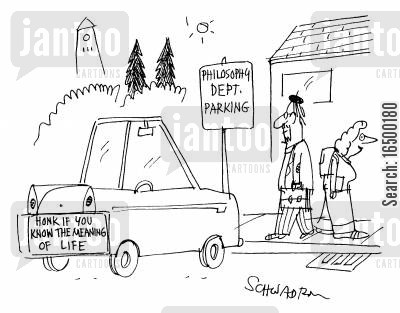 the meaning of life cartoon humor: 'Honk if you know the meaning of life'
