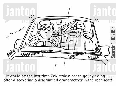 car theft cartoon humor: It would be the last time Zak stole a car to go joy riding... after discovering a disgruntled grandmother in the rear seat!