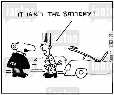 car problems cartoon humor: 'It isn't the battery.'