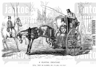 hansom cab cartoon humor: Kicking horse alarms a carriage passenger
