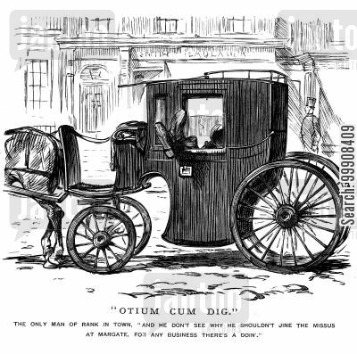 hansome cab cartoon humor: Bored Coachman