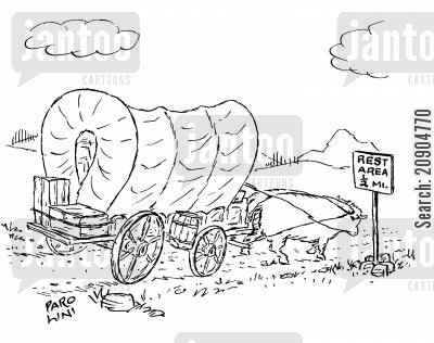 cart horse cartoon humor: Rest area - 12 mile.