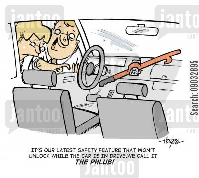 automatics cartoon humor: It's our latest safety feature that won't unlock while the car is in drive. We call it the PHLUB!