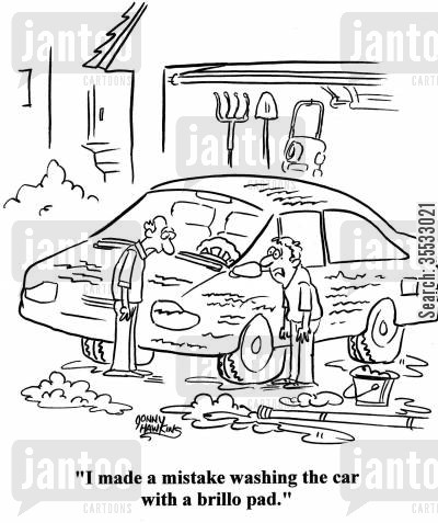 car scratches cartoon humor: Kid about scratched up car to dad: 'I made a mistake washing the car with a brillo pad.'