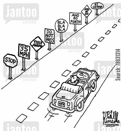 stop sign cartoon humor: Driver Overwhelmed by Traffic Signs.