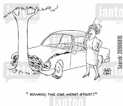 broken car cartoon humor: 'Edward the car won't start!'