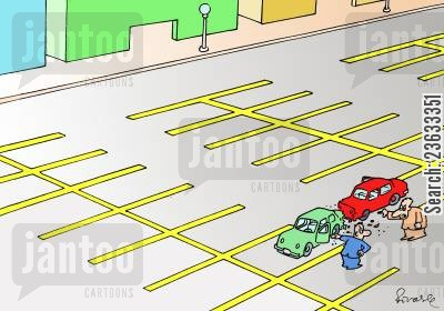 colliding cartoon humor: Parking.