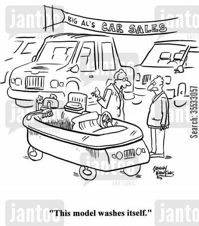 selling cars cartoon humor: Car salesman to customer about tub-like car: 'This model washes itself.'