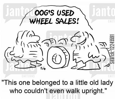 belonged cartoon humor: 'This one belonged to a little old lady who couldn't even walk upright.'