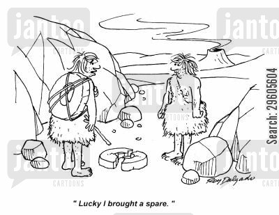punctures cartoon humor: 'Lucky I brought a spare.'