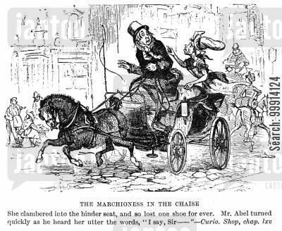 old curiosity shop cartoon humor: The Marchioness in the chaise