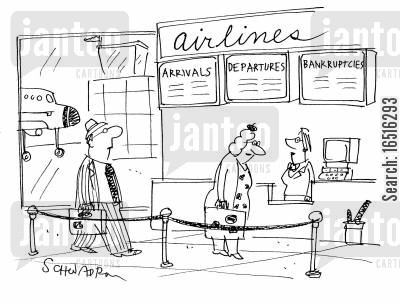 departures cartoon humor: Airline check-in with a bankruptcies update.