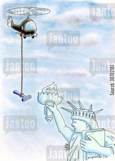 choppers cartoon humor: Helicopter Delivering Razor for Statue of Liberty's Underarm Hair.