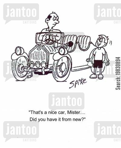 new car cartoon humor: 'That's a nice car, Mister....Did you have it from new?'