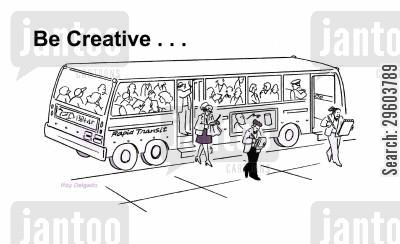 encouraging cartoon humor: Be creative...