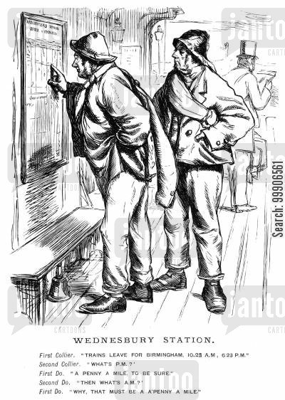 collier cartoon humor: Two coal miners reading a train timetable