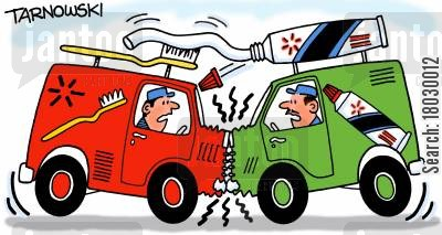 collisions cartoon humor: Toothbrush van crashing into a toothpaste van.